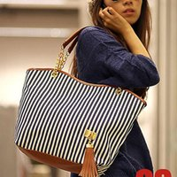 Wholesale Snap Tassels - Holiday Sale Bags Handbags Fashion Women Stripe Street Snap Candid Tote Canvas Shoulder Bag