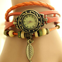 Wholesale Stainless Steel Watches Personalized - Fashion new watches wholesale special leather retro leaves bracelet table ladies trend bracelet personalized retro spot wholesale