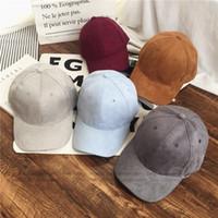 Wholesale suede caps resale online - Fashion Unisex Suede Solid Baseball Cap Curved Brim Snapback Hats Hip Hop Caps Golf Hats For Women And Men