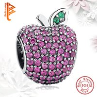 Barato Sterling Silver Apple Charming Atacado-BELAWANG Atacado 925 Sterling Silver Charms Beads Apple CZ Crystal Big Hole Beads Fit Pandora Charm BraceletsBangles DIY Jewelry Making