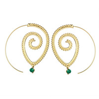 Wholesale Rhinestone Vintage Earrings Pierced - New Vintage Silver Gold Color Hollow Out Spiral Drop Earrings For Women Green Crystal Dangle Circle Piercing Earring Punk Jewelry HZ