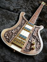 Wholesale Guitar Natural - RARE Guitar Ricken 4004 LK Lemmy Kilmister Limited Edition Natural Walnut Hand-carved Electric Bass Guitar Korea Gold Hardware 3 Pickups