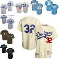Wholesale Light Stops - Grey light blue Cream Throwback Sandy Koufax Authentic Jersey , Men's #32 Mitchell And Ness Los Angeles Dodgers