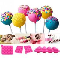 molde de pastel de piruleta al por mayor-Bandeja de silicona Pop Cake Stick Stick 12 Hoyos Lollipop Party Magdalena Molde Para Hornear Bandeja de Hielo Esfera Fabricante Molde de Chocolate