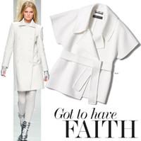 abrigos de cachemira blanco al por mayor-Rabbit white European American High-end elegante moda para mujer raya telas de lana para la ropa de abrigo de cachemira falda de lana de tela B161
