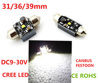 Wholesale 36mm High Power Festoon Bulbs - 5W cree led High Power SMD 31 36 39mm canbus Festoon Led Dome Light Bulb Lamp reading license plate white New