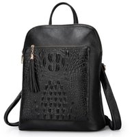 Wholesale leather satchels cheap - Cheap Leather backpack Women casual multi-functional bags crocodile cow leather double belts absolutly genuine leather good cheap