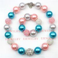 pulseira de pérola azul branco venda por atacado-Moda jóias liga strass contas rosa azul branco pérola beads chunky menina bubblegum crianças Necklacebracelet set para presentes do partido CB732