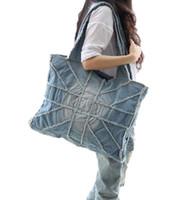 Wholesale England Flag Tote - 2016 Woman Fashion Denim Handbags Washed Cloth Bag National Flag Design Messenger Bags Size 40X50X27CM Free Shipping