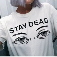 Wholesale Boutique T Shirts Women - New arrival women t shirt summer new fashion printed stay dead letter round neck t-shirt cute boutique print free shipping