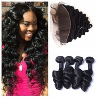 Wholesale cheap human hair vietnamese online - Peruvian Loose Wave Bundles With Lace Frontal Natural Black Cheap Human Hair Extensions G EASY DHL FREE