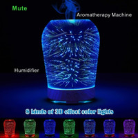 Wholesale Function Options - 3D Effect Mute Aromatherapy Machine Humidifier Night Light Function 8 Kinds of Gradient Color Cylindrical Ellipse Option.