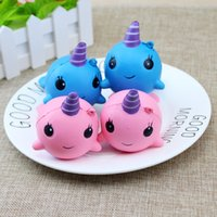 Wholesale Wholesale Sports Horns - Jumbo Squishies Millie Horns Whale Squishy Soft Pu Slow Rising Squishies Original Package Phone Strap Charms Squeeze Toys