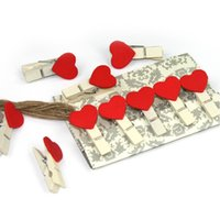 Wholesale Mini Paper Clips - Mini Wooden Scratch Clip Heart Love Clothes Photo Paper Peg Pin Lovely Message Clothespin With Hemp Rpe 4 8zr3 B R