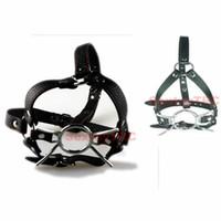 deri halka gag demeti toptan satış-Açık Ağız Örümcek Ağız Gag Top O Halka Başkanı Demeti Cosplay Kostüm Ayarlanabilir Faux Deri Kemer Maske Namlu B0302029
