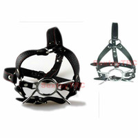 Wholesale Leather Head Harness Gag - Open Mouth Spider Mouth Gag Ball O Ring Head Harness Cosplay Costume Adjustable Faux Leather Belt Mask Muzzle B0302029
