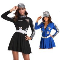 Wholesale Temptation Uniform Racing Girl - Sexy Women Racing Girls Costume Car Driver Nascar Racer F1 Halloween Cosplay fancy dress 89288 one size S-L