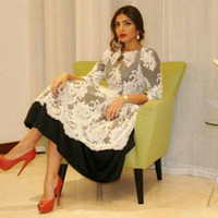 Wholesale Taffeta Jewel Tea - 2016 Tea-Length Lace Prom Dresses 3 4 Sleeve Keyhole Neckline White and Black Cheap Elegant Saudi Arabia Dubai Middle East Evening Dresses