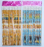 Wholesale People Cartoon Drawings - 20pcs cartoon Yellow people Creative Wooden Student Pencil Children stationery Pencil Gift kids Study Writing and Drawing