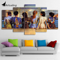 Wholesale Free Picture Printing - HD printed 5 piece canvas art pink floyd back painting wall pictures for living room modern poster free shipping CU-2009B