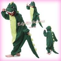 Wholesale Cosplay Pajamas Dragon - Wholesale-New Cosplay Costume Cartoon Animal Green Dinosaur Dragon Adult Unisex Anime Halloween Onesies Sleepwear Pajamas Free Shipping