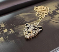 Wholesale Tiger Leopard Necklace - 2016 Crystal Leopard Tiger Head Rhinestone Pendants Necklaces Sweater Vintage Retro Women Jewelry N130