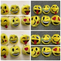 Wholesale Handbags Smiley - 10cm Emoji Plush Toys Keychain Gift QQ Expression Cushion Cartoon Smiley Yellow Round Angry Cry Shy Plush Handbag Pendant CCA7099 500pcs