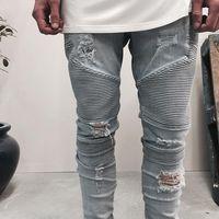 Wholesale Dark Blue Skinny Jeans - represent clothing designer pants slp blue black destroyed mens slim denim straight biker skinny jeans men ripped jeans 28-38
