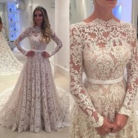 Wholesale see through robes online - Robe De Soiree Long Sleeves Lace Wedding Dresses Arabic Lace Sheer Bateau Neck Custom Made See Through Back Bridal Gowns with Belt