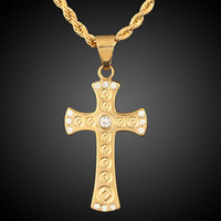 Wholesale Christian Jewelry For Women - Christian 18K Yellow Gold Plated Clear Crystal Paved Cross Chain Pendant Necklace Fashion Jewelry for Women