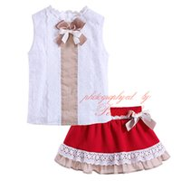 Wholesale Skirts Tanks Bows - Pettigirl Princess Style Boutique Girls Summer Bows Clothing Set White Lace Collar Tank Tees And Red Skirt Baby Children Suits G-DMCS906-796