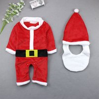 Wholesale 12 Red Santa Hat - eClouds 2017 Xmas Christmas Baby Clothes 6-18M Newborn Baby Boys Girls Santa Claus Rompers Hat Outfits Infant Christmas Gift