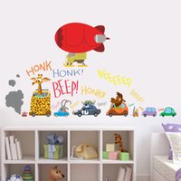 Wholesale Removable Stickers Aircraft - The Latest Movie Zootopia Wall Stickers Cartoon Car aircraft for kids rooms Movie Decals Nick Fox Judy Rabbit Collectible Gifts