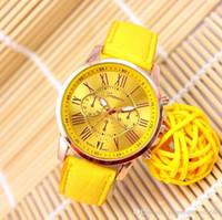 Wholesale Tan Belt For Women - 50 Pieces Hot Fashion Unisex Geneva Roman Numerals Faux Leather Analog Quartz Wrist Watches for women men wrist watch dress watches