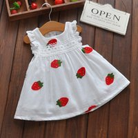 Wholesale Dress Strawberry Baby - Summer Baby Girls Strawberry Printing Dresses New Born Infant Cartoon Princess Dress Boats Sleeve Embroidered Kids Clothing