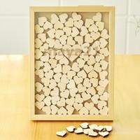ingrosso libro rustico-Personalizzato Rustico Drop Top Legno Matrimonio Guest Book Heart Piece Sign Legno Frame Drop Box Libro degli ospiti di nozze