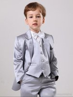 Wholesale Occasion Suit Dress For Boys - Elegant Silver Satin Wedding Ring Bearer Suits Boys' Formal Occasion Wedding Suits Kid Two Button Tuxedos Boy's Dress For Wedding