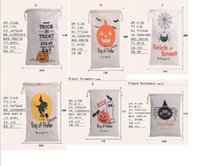 Wholesale Decoration Spider - 2017 6style Halloween Large Canvas bags cotton Drawstring Bag With Pumpkin, devil, spider, Hallowmas Gifts Sack Bags 36*48cm