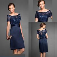 marineblau knielänge mütter kleid großhandel-Marineblaue Kleider für die Brautmutter Elegantes, hochwertiges, knielanges, kurzes Brautkleid