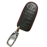 Wholesale Key Fob Dodge - Leather 5 Buttons Remote Key Fob Cover Case Holder Skin Protector for Jeep Grand Cherokee Dodge Chrysler