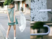 Wholesale Transparent Lace Tube - Romantic imitation lace Transparent cute cat Large long Rain Wind Umbrella For Lolita Women Travel