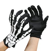 Wholesale Racing Dog - Wholesale-Luck Dog Halloween Skull Bone Skeleton Goth Racing Full Finger Gloves
