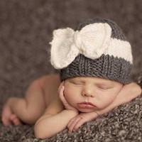 chapeau fille photographie achat en gros de-Nouveau-né Tricot Bonnet Chapeaux Bébé Garçon Filles Laine Crochet Arcs Caps Enfant Enfant Coton Wraps Infant Unisexe Cheveux Accessoires Photographie Bonnet