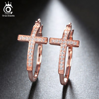 Wholesale Large Crystal Cross Wholesale - Silver Rose Gold 18K Gold Plated Hoop Earrings for Women Large Cross Loop Paved Shiny Austrian Crystal Fashion Jewelry OE142