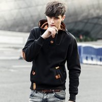 Wholesale Korean Warm Clothing - Korean Men's Cotton Coat Sweatshirts Hooded Autumn Clothes Pullover Young Men Overcoat Warm Outwear Casual Clothing 2016 New Arrival