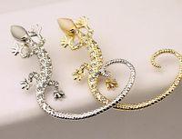 joyas de gecko al por mayor-Punk Rhinestone Animal Gecko Clip Earring Studs Lizard Ear Cuff oro plata pendientes joyas para mujeres