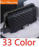 Wholesale Diamond Sequins Dresses - Women Quilted Flap Bag classic Double Flap Velvet Bag V Shaped Le Boy Bag 33 Colors