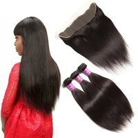 Wholesale Hair One Full - Cool 7A Quality Indian Straight Hair with one 13*4 Lace Frontal closure No Shedding Free Tangle Full And Thick Free Shipping Fee DHL
