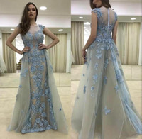 Wholesale Removable Train Prom Dress - 2018 Sexy Lace Capped Sleeve Mermaid Prom Dress Detachable Removable Skirt Floral Beads Long Evening Gowns