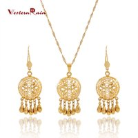 Wholesale WesternRain New Gold Plated Pendant Beads Necklace Earrings Jewelry sets For Women s Beautiful with Party Engagements G674